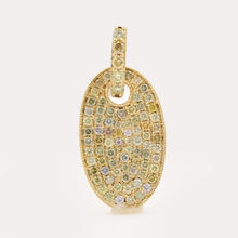 Retro Vintage Estate 10K Yellow Gold Pave Set Diamond Oval Pendant