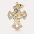 Modern Estate 10K Yellow Gold Diamond 1.30CTW Cross Pendant