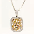 Modern Estate 18K White Gold Fancy Diamond 3.00CTW Pendant 14K Chain Necklace