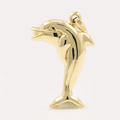 NEW Modern 14K Yellow Gold Hollow Dolphin Pendant