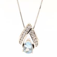 Vintage Estate 14K White Gold Diamond Pear Cut Aqua 0.96CTW Pendant Chain Necklace