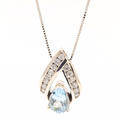 Vintage Estate 14K White Gold Diamond Pear Cut Aqua Pendant Chain Necklace