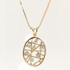 Custom VIntage Estate 14K Yellow Gold Diamond Pendant Chain Necklace