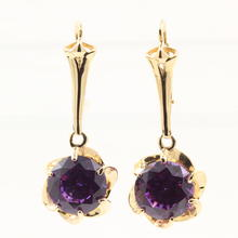 Vintage Estate 14K Yellow Gold Purple Sapphire 8.50CTW Drop Dangle Earrings