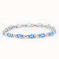 Retro Vintage Estate 10K White Gold Blue Topaz Diamond 2.65CTW Accent Bracelet