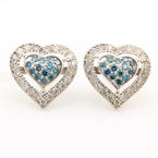 Modern Estate 10K White Gold Blue Natural Diamond Pave De Dears Heart Earrings