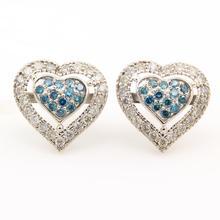 Modern Estate 10K White Gold Blue Natural Diamond Pave De Dears Heart Earrings