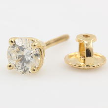 Classic Modern 14K Yellow Gold Diamond 0.40CTW Single Screw Back Stud Earring