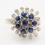 Vintage Estate Retro Ladies European Cut Sapphire and Diamond Right Hand Cocktail Ring