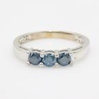 Rare Modern Estate 10K White Gold Three Stone Blue Diamond Ring Band