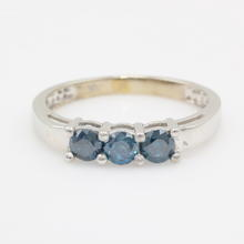 Rare Modern Estate 10K White Gold Three Stone Blue Diamond Ring Band