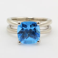 Retro Fine Estate 14K White Gold Cushion Cut Topaz Diamond Cocktail Ring