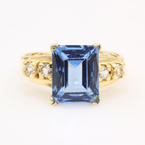 Retro Fine Estate 14K Yellow Gold Radiant Cut Blue Quartz Cocktail Ring