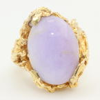 Fine Vintage Estate 14K Yellow Gold Lilac Purple Jade Cabochon 10.45CTW Cocktail Ring
