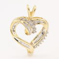 NEW Modern Ladies 10K Yellow Gold Natural Diamond Heart Pendant