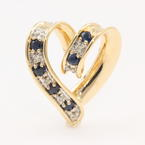 Unique Estate 14K Yellow Gold Blue Sapphire Red Ruby Double Sided Heart Pendant