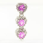 Modern Estate 14K White Gold Diamond and Pink Topaz 1.00CTW Pendant