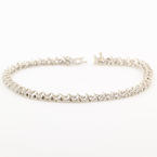 Classic Ladies Estate 10K White Gold Diamond 0.65CTW Tennis 7 inch Bracelet