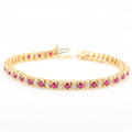 Vintage Retro Ladies 10K Yellow Gold Red Ruby Diamond 3.00CTW Tennis Bracelet