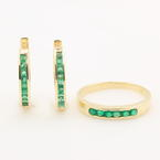 Vintage Estate 14K Yellow Gold Emerald Two Piece Jewelry Ring Earring Set
