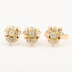 Vintage Estate  Ladies 14K Yellow Gold Diamond 2.15CTW 2 PC Jewelry Set