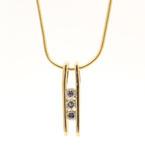 "Vintage Estate 14K Yellow Gold Three Diamonds Pendant Fancy 17"" Chain  Necklace"