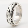 Estate Men's 925 Sterling Silver Rope Ring Band Sz.11.5