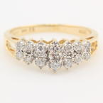 Classic Vintage Retro 14K Yellow Gold Diamond Cathedral Right Hand Ring