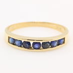 Classic Estate 14K Yellow Gold Blue Spinel Gemstone Ring Band