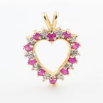 Fine Vintage Estate 10K Yellow Gold Diamond and Spinel Heart  Pendant