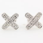 NEW Modern 14K White Gold Diamond  Cross X Push Back Stud Earrings