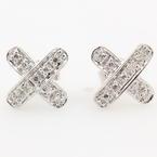NEW Modern 14K White Gold Diamond  Cross X Push Back Stud Earrings