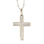 Classic Estate 14K White Gold Diamond 1.50CTW Cross Pendant and Chain Necklace