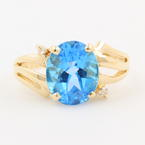 Retro Vintage 14K Yellow Gold Diamond Oval Blue Topaz Gem Cocktail Ring