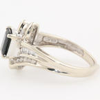 Classic Estate Ladies 10K White Gold Sapphire Diamond 1.20CTW Cocktail Ring Jewelry
