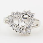 Modern 14K White Gold Lovely Zirconia Heart Quinceanera 15 Birthday Ring - NEW