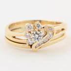 Fine Estate 14K Yellow Gold Diamond Bridal Wedding Ring Set