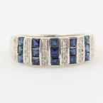 Classic Modern 14K White Gold Diamond and Sapphire 1.00CTW Anniversary Wedding Ring Band