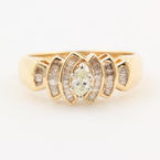 Fine Estate  Ladies 10K Yellow Gold Marquise Diamond Right Hand Ring