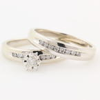 NEW Classic Modern 10K White Gold Diamond Wedding Ring Duo Set