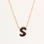 NEW Modern 14K Rose Gold Black Diamond Personalized Letter S Necklace