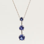 NEW Modern 10K White Gold Blue Sapphire Journey Pendant Chain Necklace