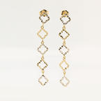 NEW Modern 14K Yellow Gold White Gold Two Tone Cut Out Dangle Earrings