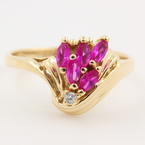 Vintage Estate 14k Yellow Gold  Pink Ruby Right Hand Ring