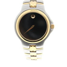 Authentic Movado Museum 81.E2.887.2 Stainless Two Tone Black Dial Swiss Dress Watch