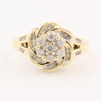 Retro Vintage Ladies 10K Yellow Gold  Diamond Rosita Right Hand Ring