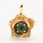 Fine Vintage Estate Ladies 14K Yellow Gold Emerald Rose Pendant