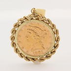 Fine Authentic 1901 US Five Dollar Liberty Head Half Eagle S Gold Coin Pendant