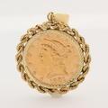 Fine Authentic 1901 US Five Dollar Liberty Head Half Eagle S Gold Coin Pendant