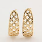 Modern Estate 14K Yellow Gold Half Wedge CutOut Push Back Earrings